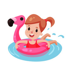 Happy girl swimming with pink inflatable lifebuoy vector