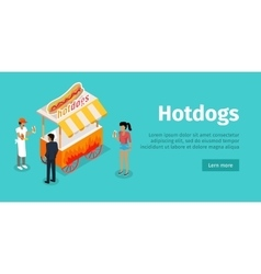 Hotdogs conceptual isometric web banner vector
