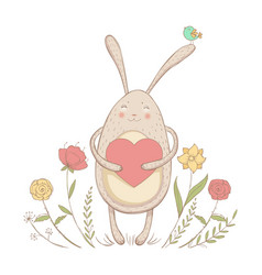 in love rabbit with heart vector image vector image