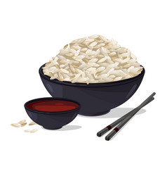 Japanese food bowl with white rice vector