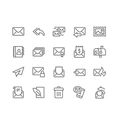 Line Mail Icons vector image vector image