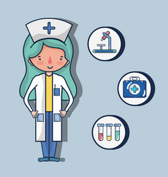 Nurse with first aid kit vector