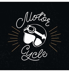 Retro racer helmet and motorcycle hand lettering vector