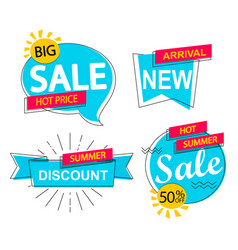 Set of sale discounts and new arrivals labels vector