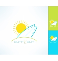 Set of surfing company label logo made in vector image