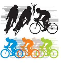 silhouettes cyclist vector image vector image