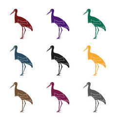 stork icon in black style isolated on white vector image