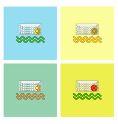 Swimming water polo equipment collection vector