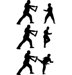 taekwondo practice silhouette vector image vector image