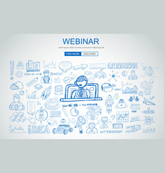 Webinar concept with business doodle design style vector