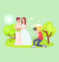 Wedding photographer lgbt couple lesbians vector