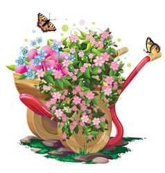 wheelbarrow with flowers vector image