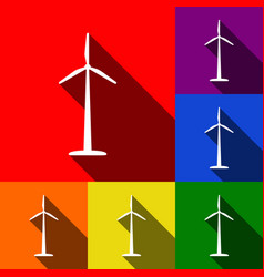 Wind turbine logo or sign set of icons vector