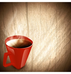wooden background with red cup of coffee vector image vector image