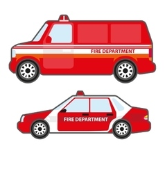 Set of red fire department car to help vector image