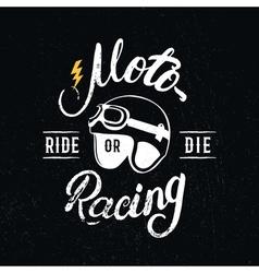 Retro racer helmet and motoracing hand written vector image
