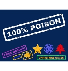 100 percent poison rubber stamp vector