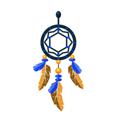Decorated dreamcatcher charm native american vector