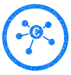 Euro payments rounded icon rubber stamp vector