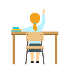 girl raising the hand sitting at the desk in vector image
