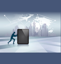silhouette business man pushing tablet computer vector image
