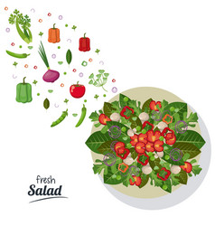 Fresh salad food ingredient dinner image vector