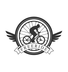 Freeride vintage label black and white vector