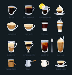 Mugs with different type of coffee espresso vector