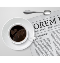 Coffee cup on newspaper vector