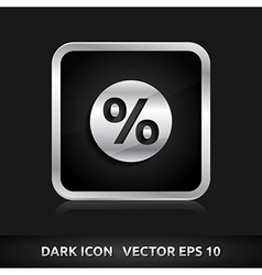 Sale percent icon silver metal vector
