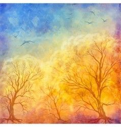 Oil painting autumn trees flying birds vector