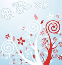 Spring flowers and trees vector