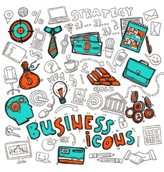 Business icons doodle sketch vector image