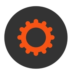 Gear flat orange and gray colors round button vector