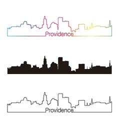 Providence skyline linear style with rainbow vector