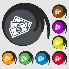 Us dollar icon sign symbol on eight colored vector