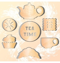Set of tea time effect of the shadow vector