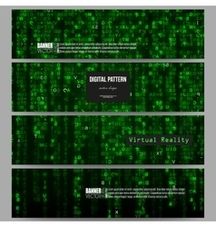 Set of modern banners virtual reality abstract vector