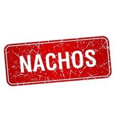 Nachos red square grunge textured isolated stamp vector