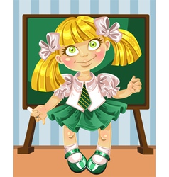 Little schoolgirl at the board vector
