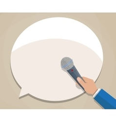 Journalist hand with microphone vector