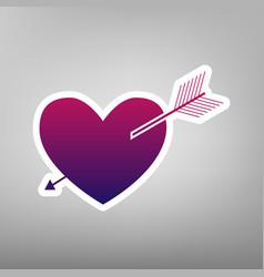 Arrow heart sign purple gradient icon on vector