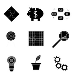 Black silhouette business icons vector