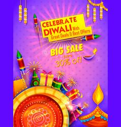 burning diya on happy diwali holiday sale vector image