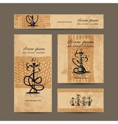 Business cards design with hookah sketch vector image vector image