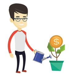 Business man watering money flower vector