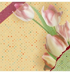 Card with beautiful red tulips polka dot EPS 10 vector image vector image