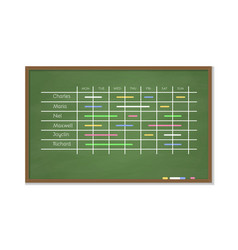 chalk board with schedule vector image vector image
