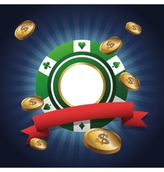 Chip and coins of casino design vector image