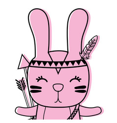 Color cute rabbit animal with arrows and feathers vector